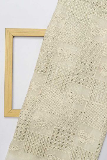White Dyeable Floral Pattern Embroidery On Bamber Georgette Fabric