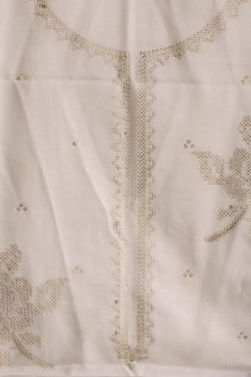 White Dyeable Sequins and Geometric Pattern Embroidery On Cora Cotton Unstitched Suit
