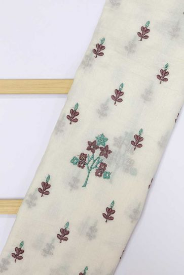 White Dyeable Butti Pattern Embroidery On Cora Cotton Fabric