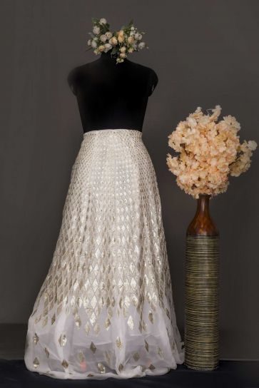White Dyeable Geometric And Objects Pattern Embroidery On Bamber Georgette Unstitched Lehengas Panel