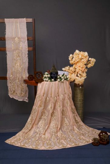 Light Peach Floral And Paisley Pattern Embroidery On Bamber Georgette Unstiched Lehenga Panel