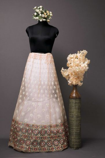 Light Peach Leaves Work And Sequins Pattern Embroidery On Nylon Organza Unstitched Lehenga Panel