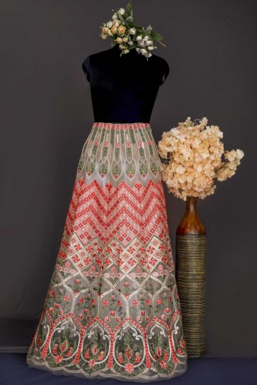 Chickoo Geometric And Floral Pattern Embroidery On Nylon Organza Unstitched Lehenga Panel