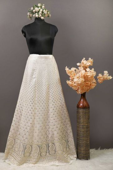 White Dyeable Chikankari Style And Sequins Pattern Embroidery On Bamber Georgette Unstitched Lehenga Panel