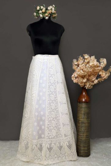 White Dyeable Paisley Pattern Embroidery On Bamber Georgette Unstitched Lehengas